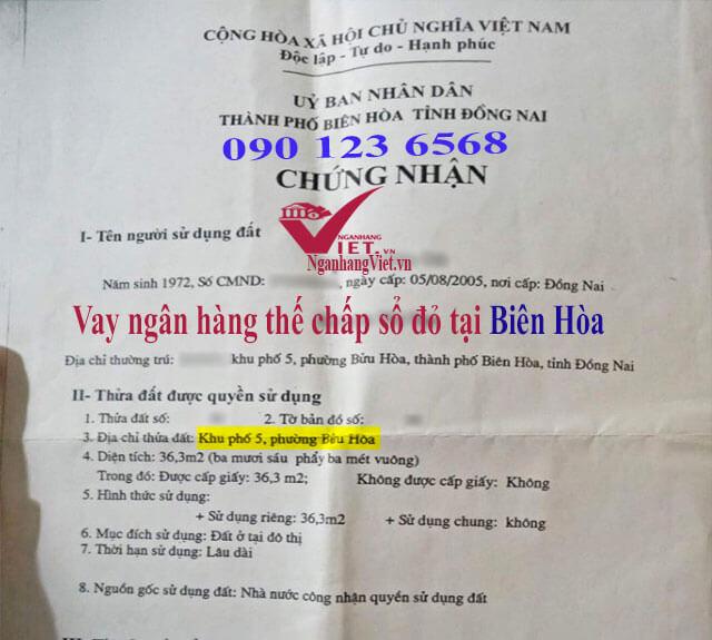 Vay thế chấp sổ đỏ tại Biên Hòa tỉnh Đồng Nai